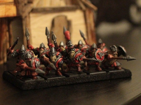 Dwarven Warriors with shield and spear holding the line