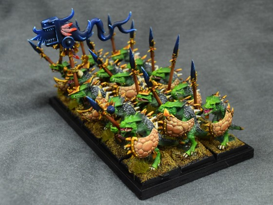 saurus with spears