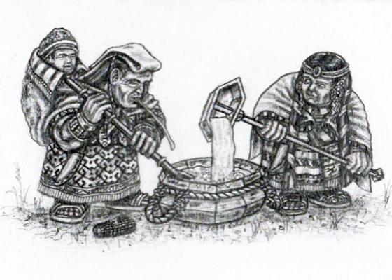 Chicha-Brewing Dwarf Womenfolk of the Wrathful Mountains
