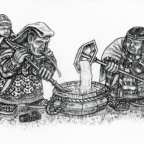 Chicha-Brewing Dwarf Womenfolk of the Wrathful Mountains