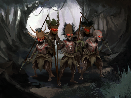 Pygmy Warriors (with Background)
