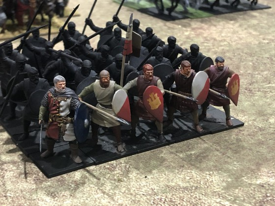 Marcos' Castellan Master at Arms and Peasant Spearmen