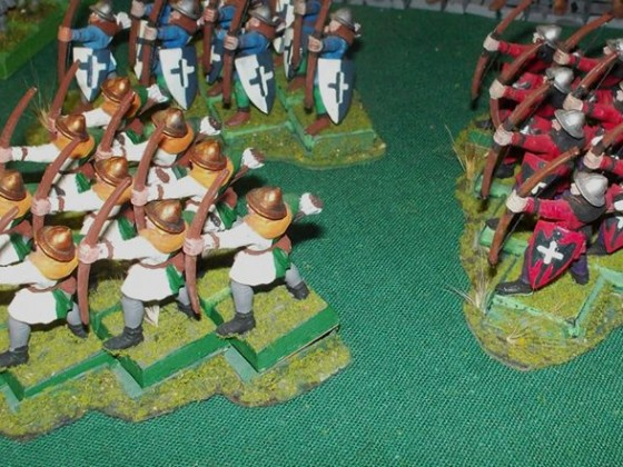 Bretonnian Archers in wedge moving stands