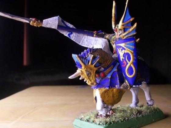 A Charging High Elf Dragon Prince on a War Steed