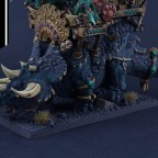 Xokha Army Captain on Taurosaur with Engine of the Gods