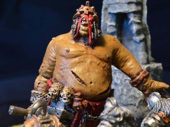 Ogre Great Khan fighting Dwarven Greybeards