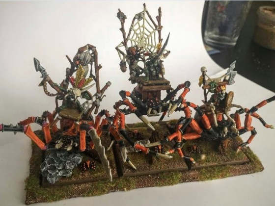 Three Goblin Chief on Huntsmen Spider - Heroes Monstrous Cavalery