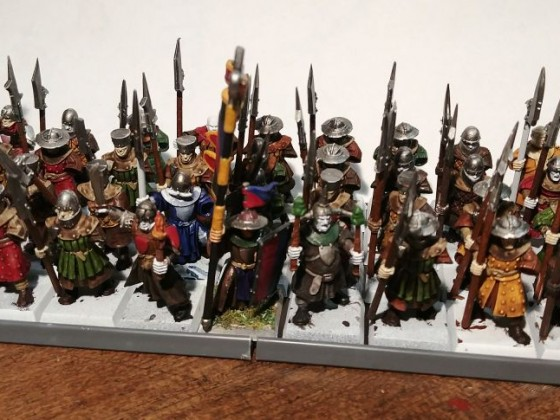 Full 40 levy waiting shields, skin tones and basing.