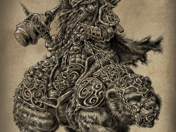 Dwarf on Armoured Grizzly Bear by Michael Rechlin