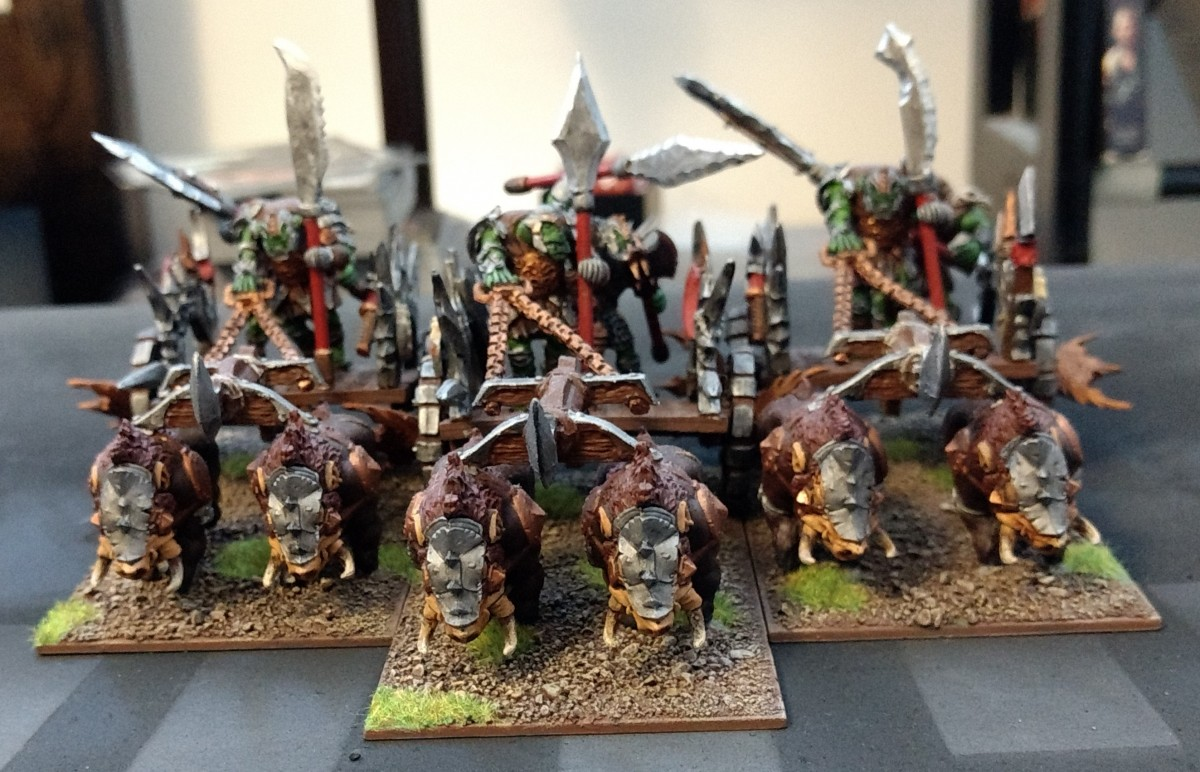 Orc Boar Chariots with custom Orc Chief