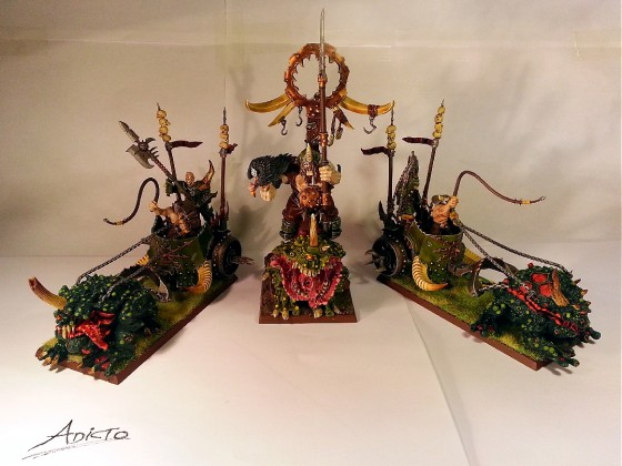 2 Maulerbeast Chariots of Pestilence + Chosen Hero of Pestilence on Palanquin.