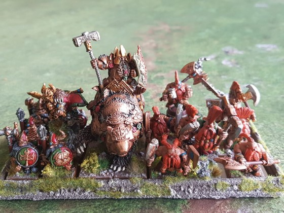 Dwarven King on war bear and cohorte