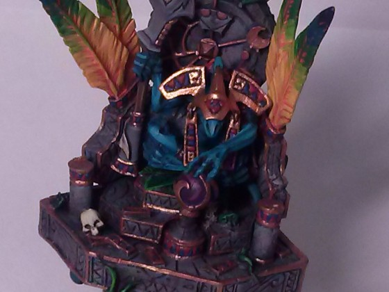 Skink high priest on palanquin