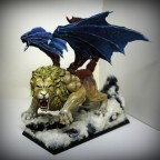 Manticore in snow-capped mountains
