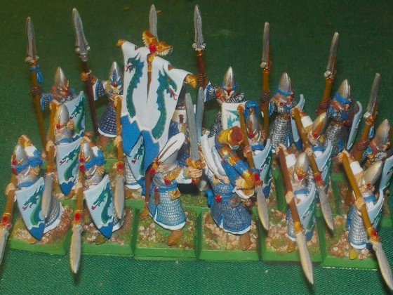 Eaighteen High Elf Marines with spears and shields
