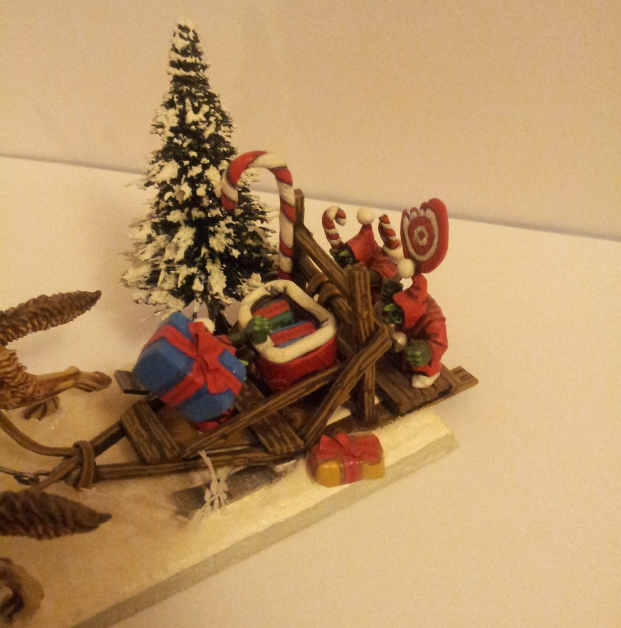 little helpers on sled(goblin wolf chariot)
